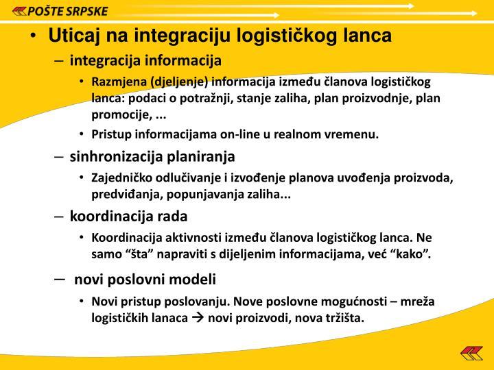 Uticaj na integraciju logisti