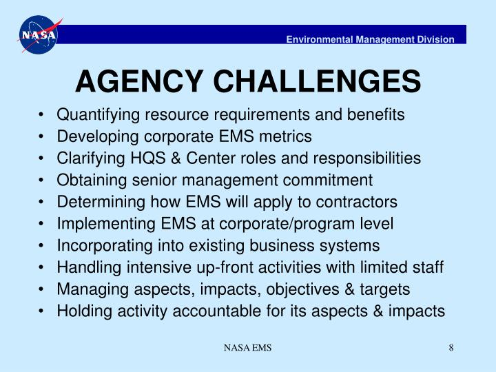 AGENCY CHALLENGES