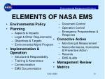 elements of nasa ems