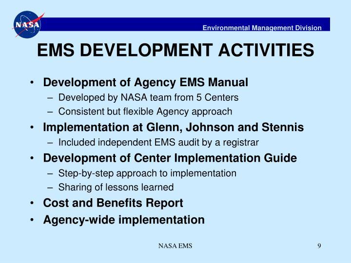 EMS DEVELOPMENT ACTIVITIES