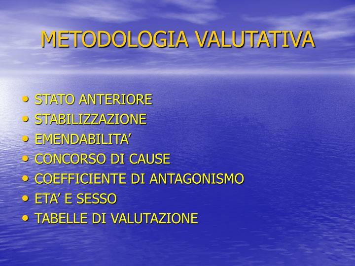 METODOLOGIA VALUTATIVA