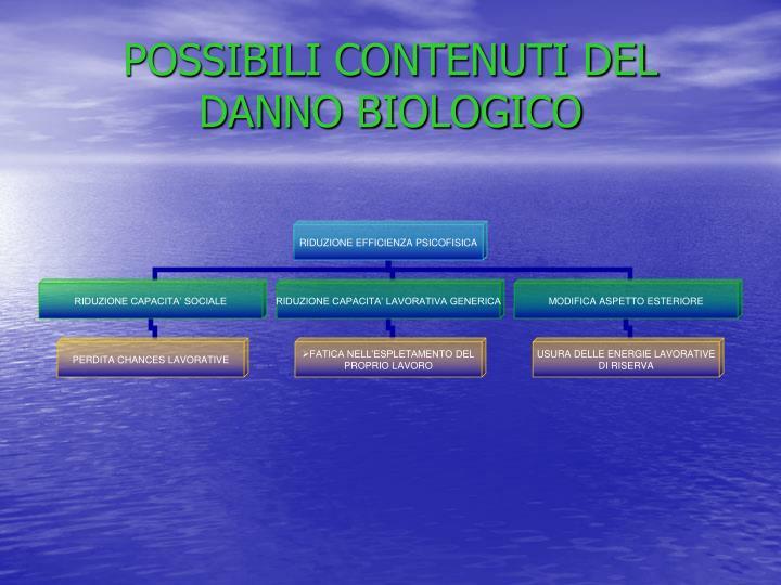 POSSIBILI CONTENUTI DEL DANNO BIOLOGICO
