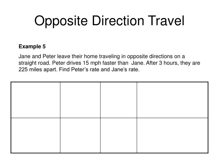 Opposite Direction Travel