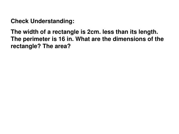Check Understanding: