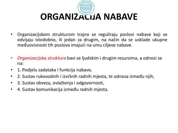 ORGANIZACIJA NABAVE