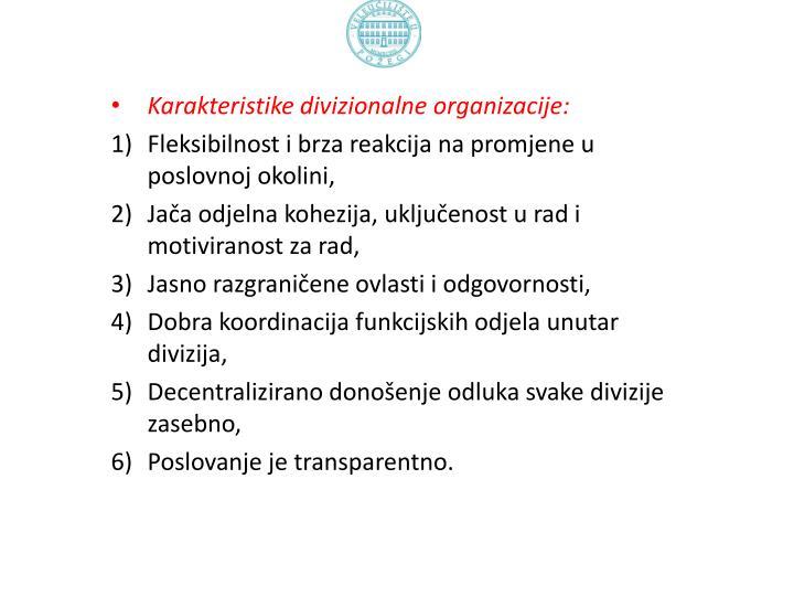 Karakteristike divizionalne organizacije: