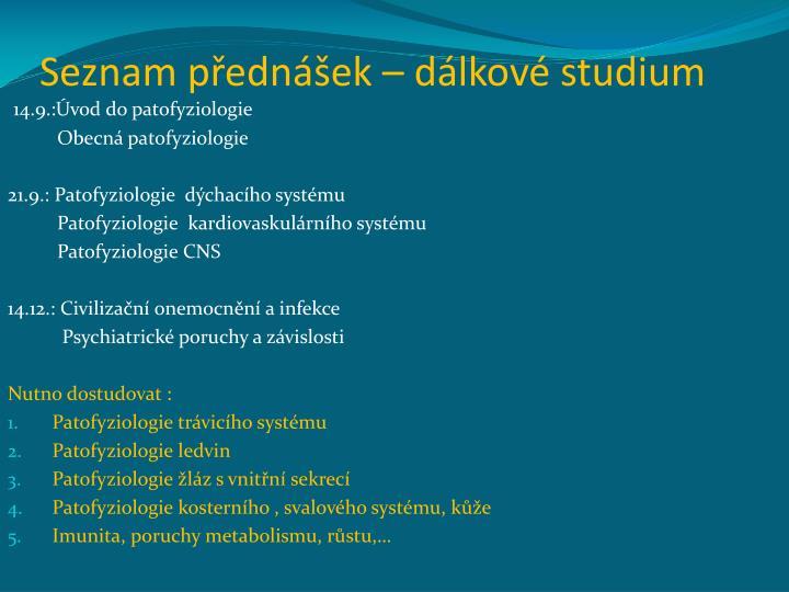 Seznam přednášek – dálkové studium