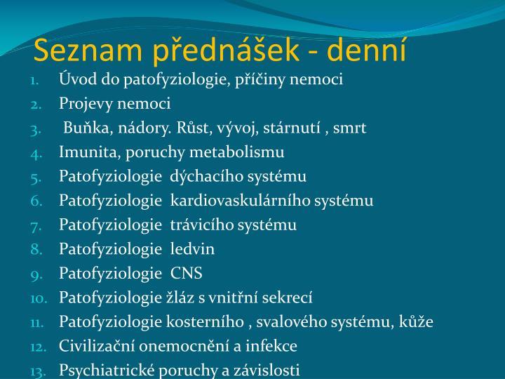 Seznam přednášek - denní