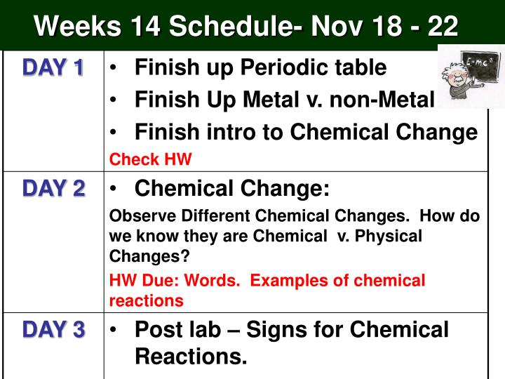 Weeks 14 schedule nov 18 22
