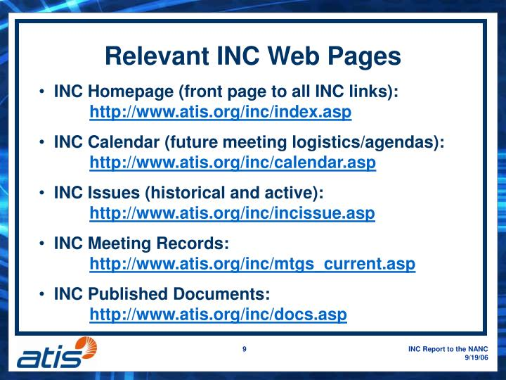 Relevant INC Web Pages