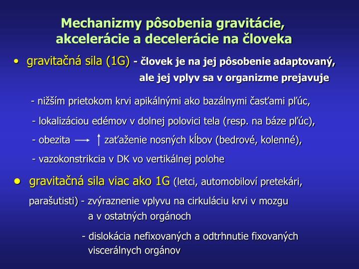 Mechanizmy pôsobenia gravitácie,
