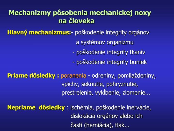 Mechanizmy pôsobenia mechanickej noxy