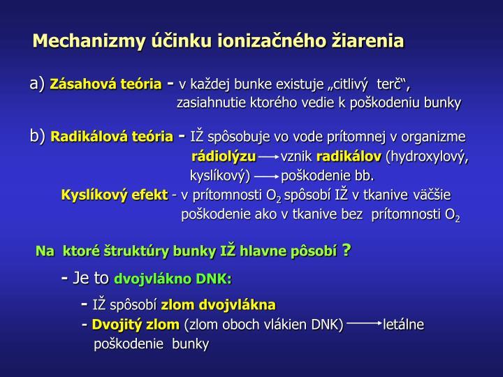 Mechanizmy účinku ionizačného žiarenia