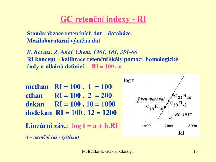 GC retenční indexy - RI