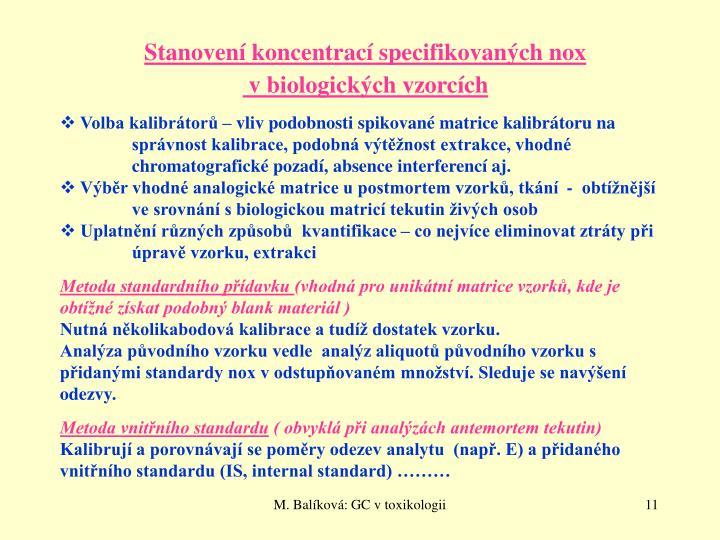 Stanovení koncentrací specifikovaných nox