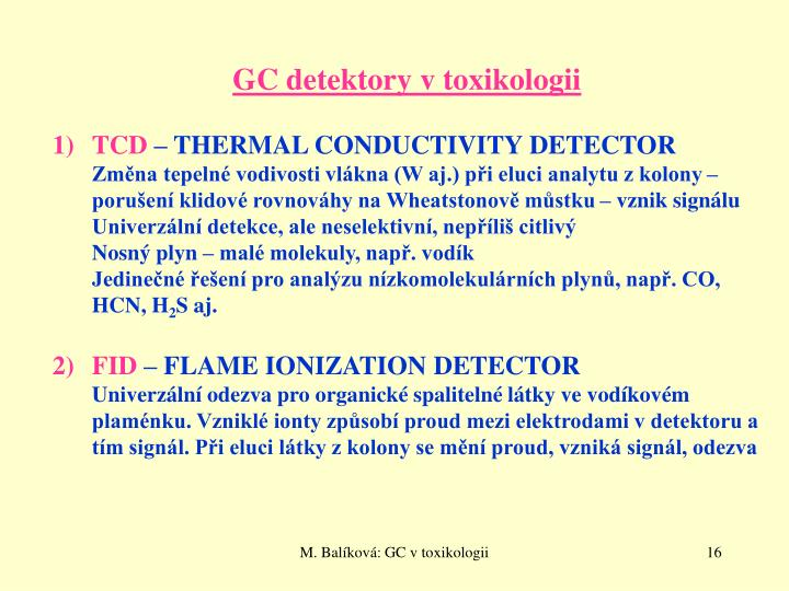 GC detektory v toxikologii