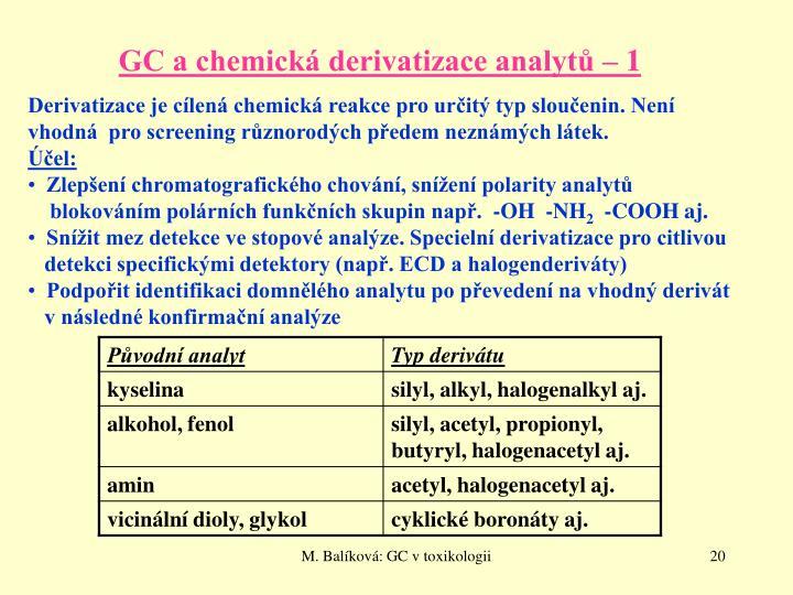 GC a chemická derivatizace analytů – 1
