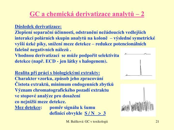 GC a chemická derivatizace analytů – 2