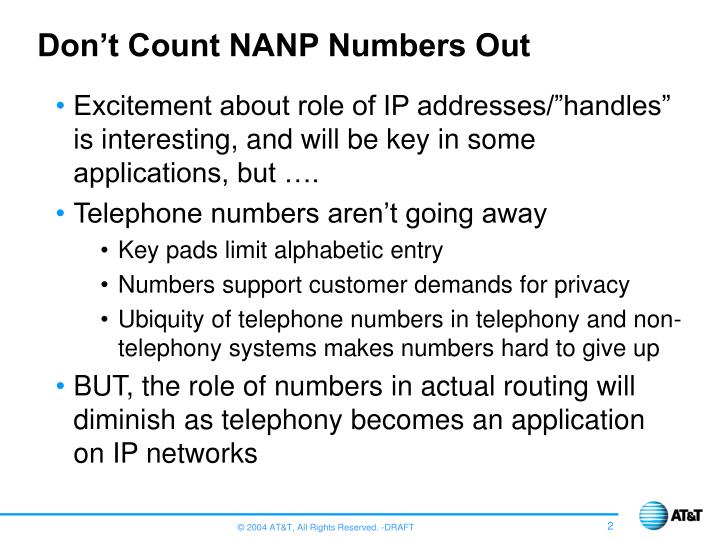 Don't Count NANP Numbers Out