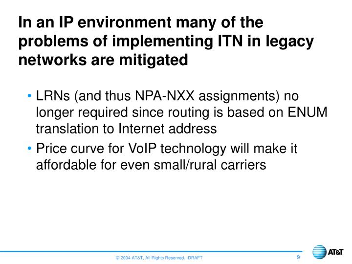 In an IP environment many of the problems of implementing ITN in legacy networks are mitigated