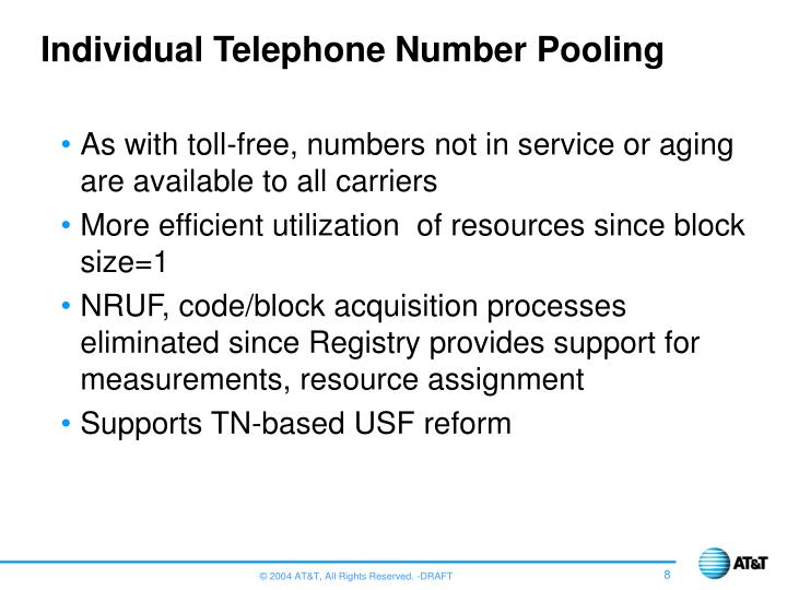 Individual Telephone Number Pooling