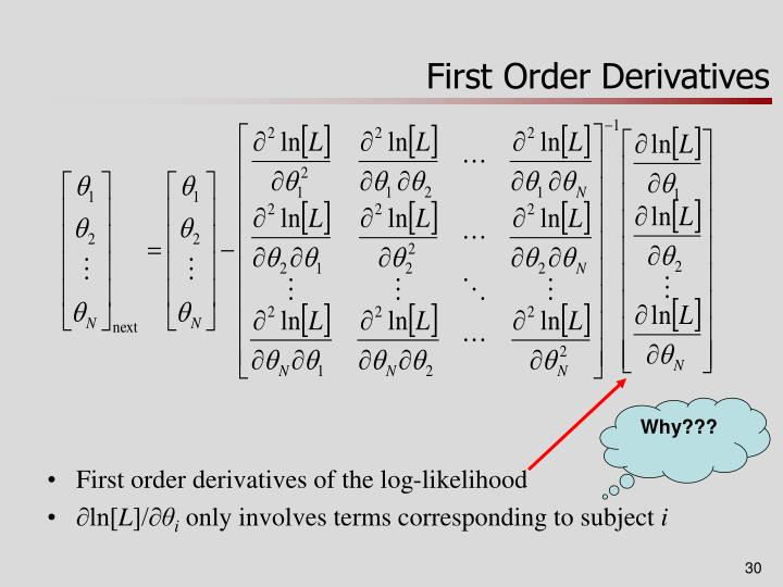 how to find first order derivative