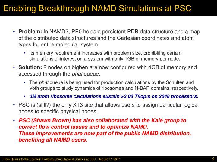 Enabling Breakthrough NAMD Simulations at PSC