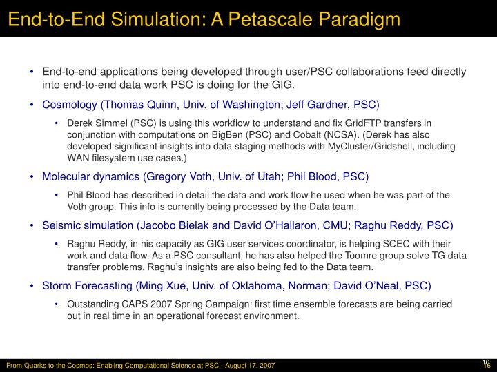 End-to-End Simulation: A Petascale Paradigm