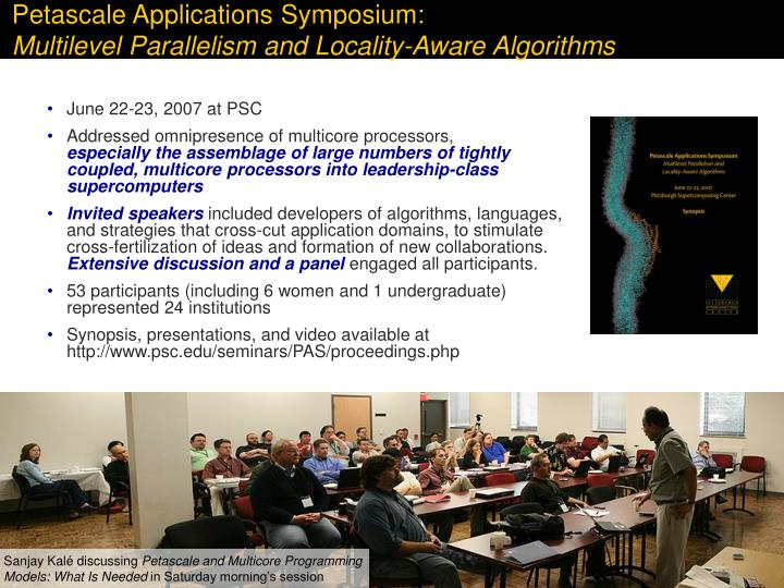 Petascale Applications Symposium: