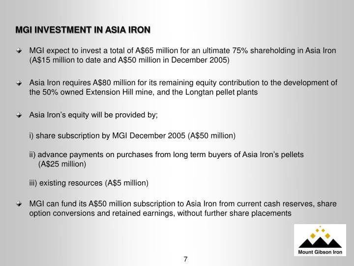 MGI INVESTMENT IN ASIA IRON
