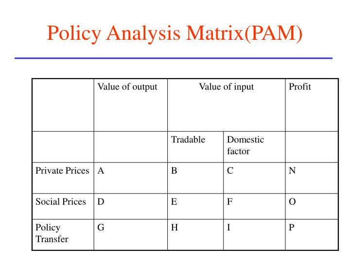 Policy Analysis Matrix(PAM)