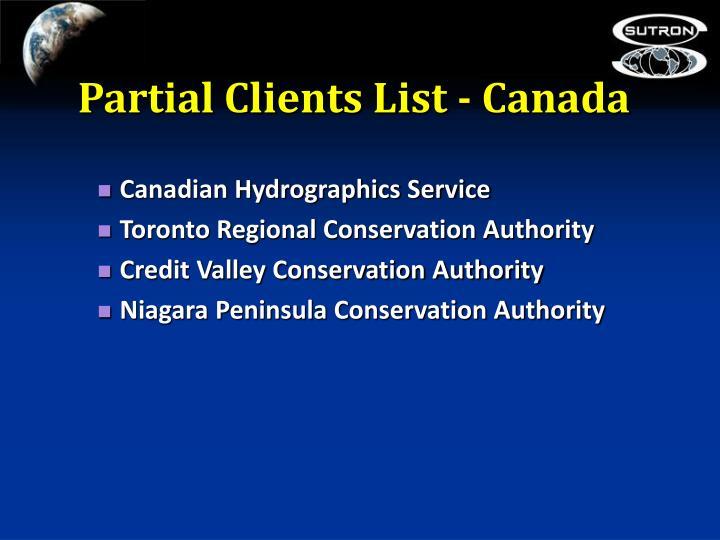 Partial Clients List - Canada