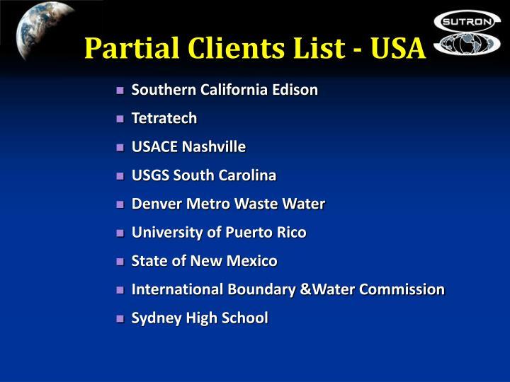 Partial Clients List - USA
