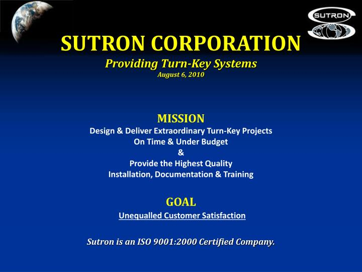 Sutron corporation providing turn key systems august 6 2010