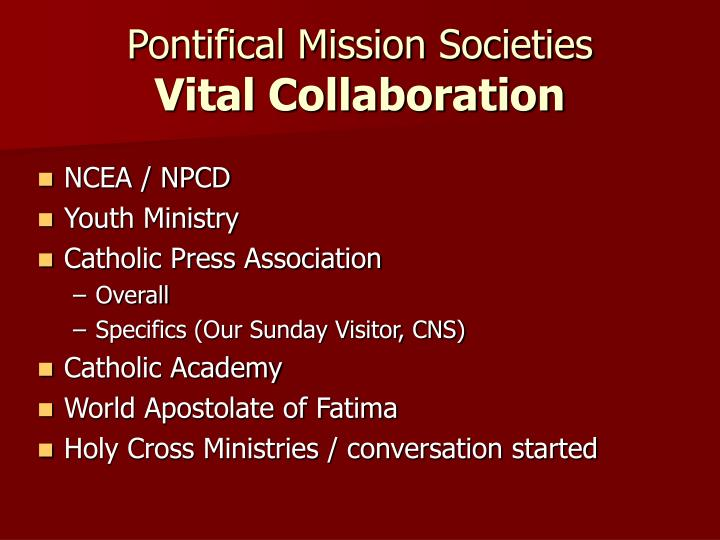 Pontifical mission societies vital collaboration