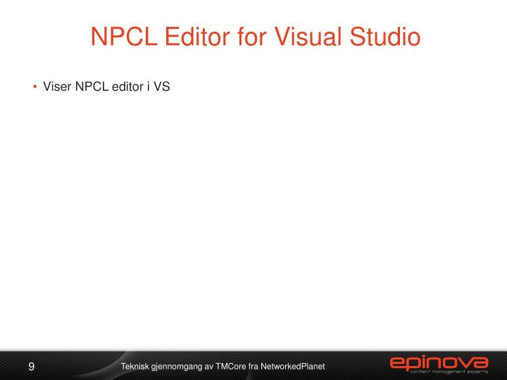NPCL Editor for Visual Studio