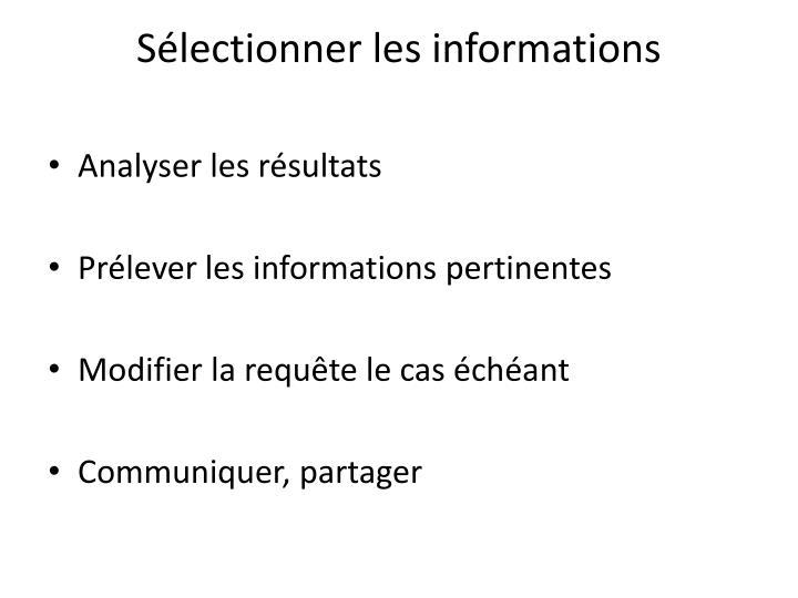 Sélectionner les informations