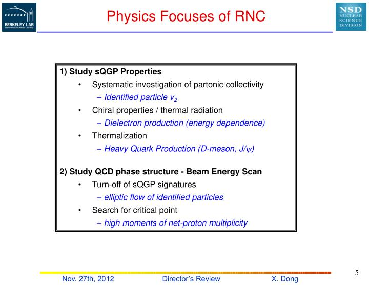 Physics Focuses of RNC