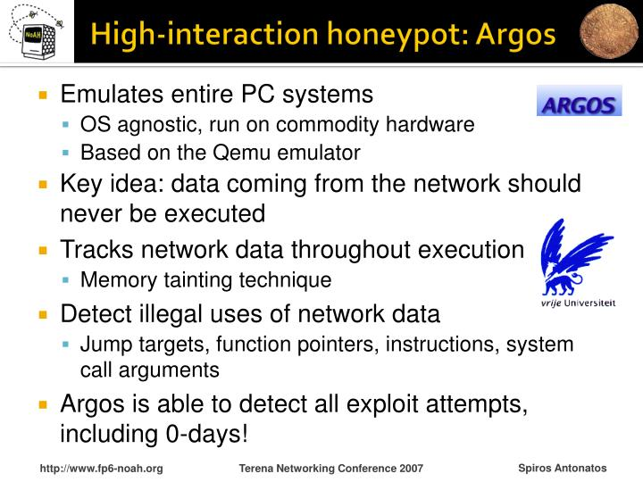 High-interaction honeypot: Argos