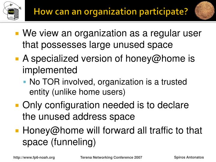 How can an organization participate?