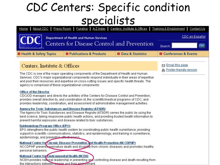 CDC Centers: Specific condition specialists