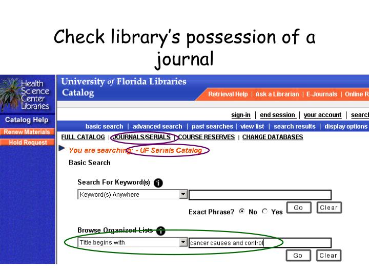 Check library's possession of a journal
