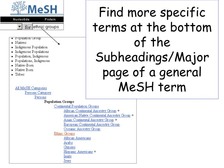 Find more specific terms at the bottom of the Subheadings/Major page of a general MeSH term