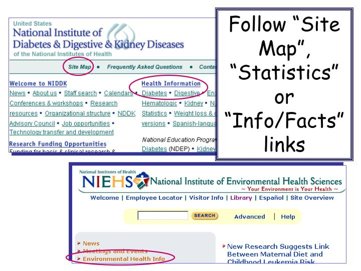 "Follow ""Site Map"", ""Statistics"""