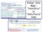 follow site map statistics or info facts links