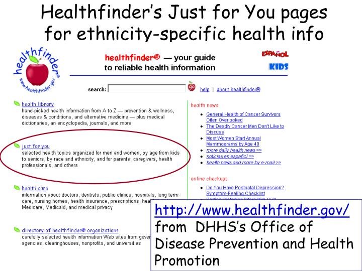 Healthfinder's Just for You pages for ethnicity-specific health info