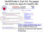 healthfinder s just for you pages for ethnicity specific health info