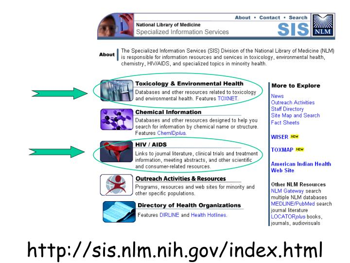 http://sis.nlm.nih.gov/index.html