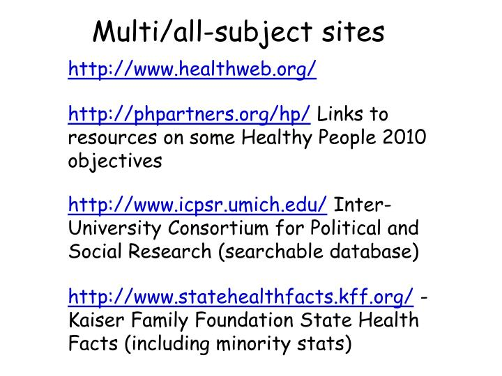 Multi/all-subject sites