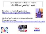 national library of medicine links to health organizations